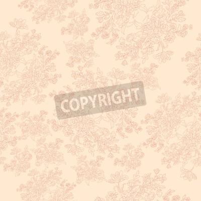 Plakat bez szwu retro wzór z rokokowymi kwiatów, shabby chic motywem