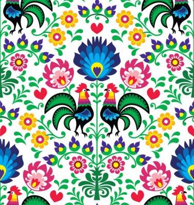 Plakat Bez szwu wzór tradycyjnych kwiatów Polska - Wzory łowickie