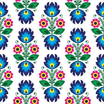 Plakat Bez szwu wzór tradycyjnych kwiatów polskich - pochodzenie etniczne