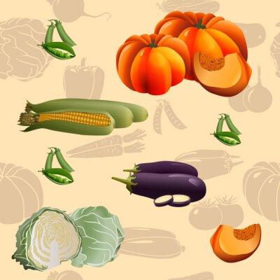 Plakat bezszwowe wzór warzywa: kukurydza, dynia