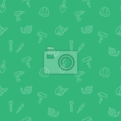 bezszwowe wzór z narzędziami budowlanymi i sprzętowymi ikony w stylu liniowym, zielone tło, ilustracji wektorowych