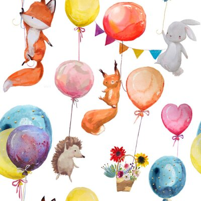 Plakat Bezszwowe wzór ze zwierzętami z balonami
