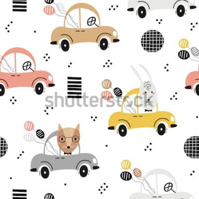 Plakat Bezszwowy dziecko wzór z ślicznym lisem, królik w samochodzie. Kreatywne tekstury dla dzieci do tkanin, tekstyliów, tapet i opakowań. Ilustracji wektorowych