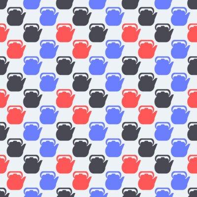 Bezszwowy kolorowy wzór. Tło z czajniki w stylu płaski