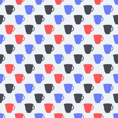 Bezszwowy kolorowy wzór. Tło z kubki w stylu płaski