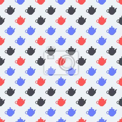 Bezszwowy kolorowy wzór. Tło z płaskich czajniki