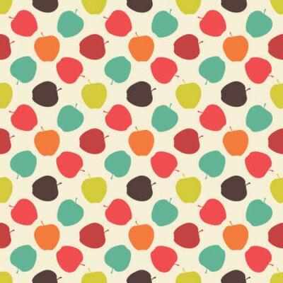 Bezszwowy kolorowy wzór. Wektorowy tło z mieszkanie stylu jabłkami