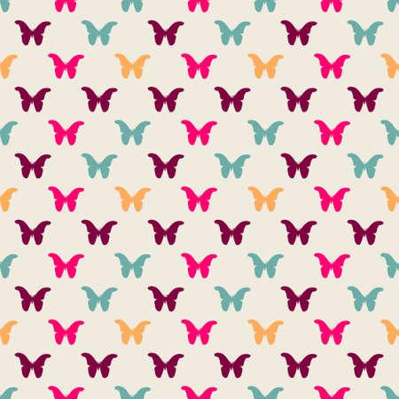 Bezszwowy kolorowy wzór. Wektorowy tło z mieszkanie stylu motylami