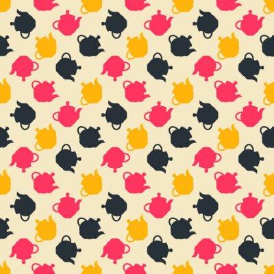 Bezszwowy kolorowy wzór. Wektorowy tło z płaskimi stylowymi teapots