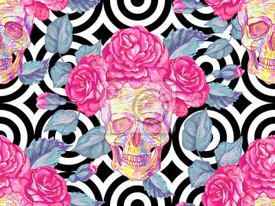 Plakat Bezszwowy meksykański wzór z czaszkami i różami. Różany kwiecisty lato projekta wektoru tło. Idealny do tapet, wypełnień deseni, tła stron internetowych, tekstur powierzchni, tekstyliów