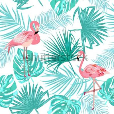 Plakat Bezszwowy wzór flaming, opuszcza monstera. Tropikalne liście palmy i kwiaty. Tło wektor.