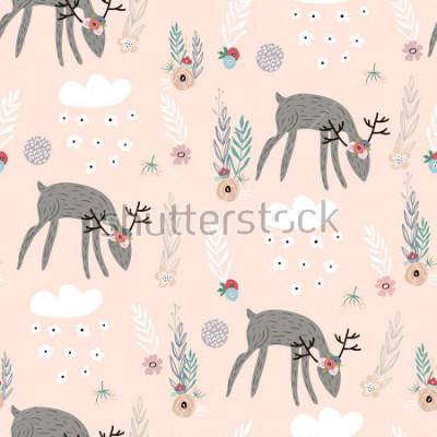 Plakat Bezszwowy wzór z deers, kwieciści elementy, gałąź. Twórczy tło lasu. Idealny do odzieży dziecięcej, tkanin, tkanin, dekoracji przedszkola, papier pakowy. Ilustracja wektorowa