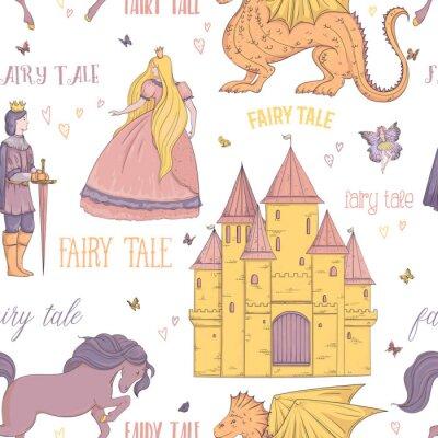 Plakat Bezszwowy wzór z książe, princess, kasztel, smok, czarodziejka, koń. Motyw bajki. Pojedyncze obiekty. Vintage ilustracji wektorowych