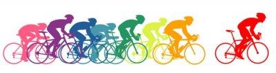 Plakat biegacze rowerowe, kolorowe