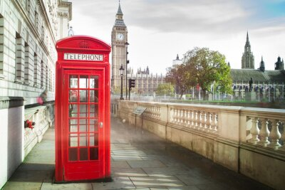 Plakat Big ben and red phone cabine in London