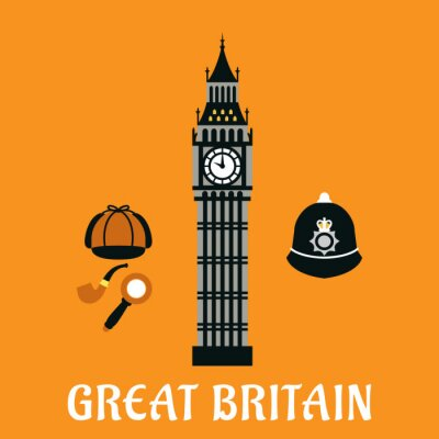 Plakat Big Ben tower and other britain objects
