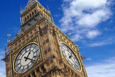 Plakat Big Ben z bliska na niebieskim niebie, Anglia Wielka Brytania