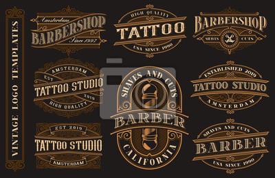 Big bundle of vintage logo templates for the tattoo studio and barbershop