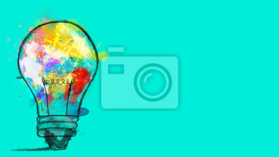 Plakat Big stylized light bulb on cyan background drawn with splashes of colored paint. Concept of innovation and creativity