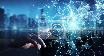 Plakat Biznesmen dotykania latające połączenie sieciowe renderowania 3D