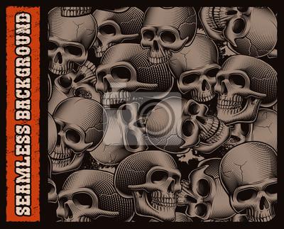 black and white seamless pattern of skulls