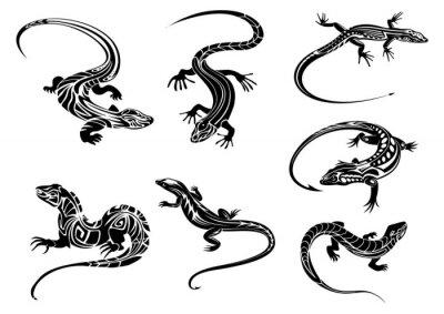 Plakat Black lizards with tribal ornament
