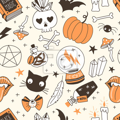 Black magic hand drawn vector seamless pattern. Crystal ball, bottles with poison, worms, skull, black cat on pastel background. Witching stuff wrapping paper, wallpaper modern textile design