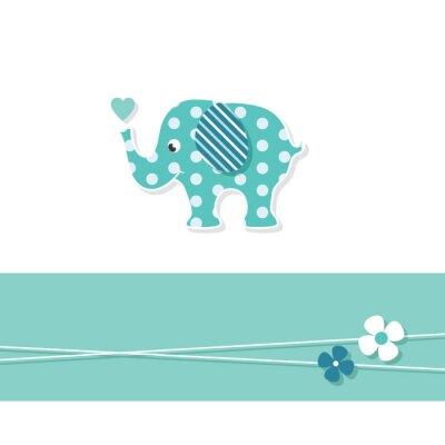 Plakat blue baby boy karty z pozdrowieniami słonia