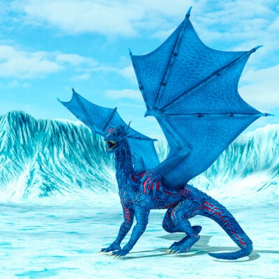 Plakat blue ice dragon is looking for food on frozen land