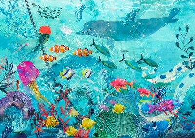 Plakat blue underwater background with fish