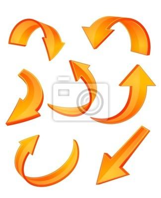 Błyszczący pomarańczowy ikon strzałek
