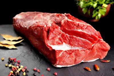 Plakat bodegón, pieza de carne, chuleton listo para cocinar