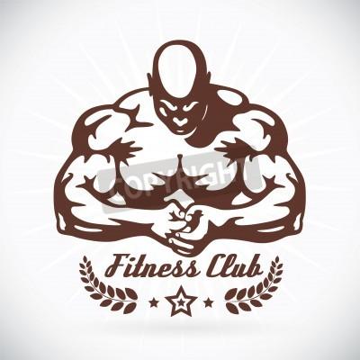 Plakat Bodybuilder Fitness Model Illustration, Sign, Symbol, Button, Badge, Icon, Logo for Family, Baby, Children, Teenager, People, Tattoo