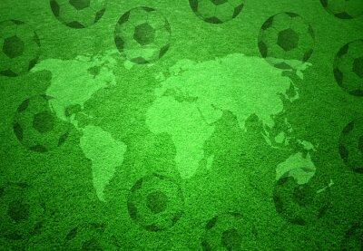 Plakat Boisko do piłki nożnej trawy z mapy świata i piłki nożnej wzorca.
