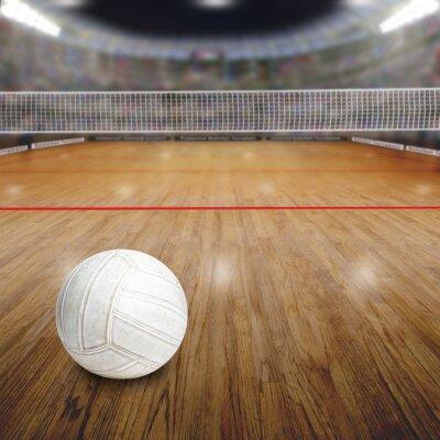 Plakat Boisko do siatkówki z kulki na podłogi z drewna i kopia przestrzeń