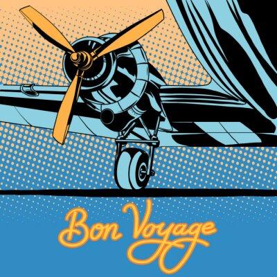 Plakat Bon voyage podróże retro samolot plakat