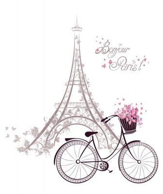 Plakat Bonjour Paryż tekst z wieży Eiffla i rowerem