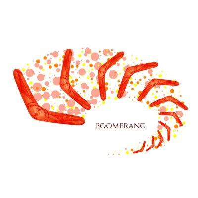 Plakat Boomerang w ruchu. Imitacja akwareli. Boomerang jako symbol Australii. Izolowane ilustracji wektorowych.