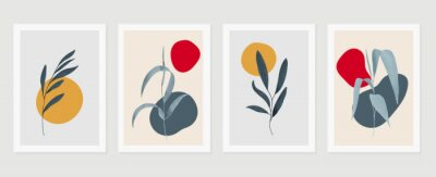 Plakat Botanical wall art vector set. Earth tone background foliage line art drawing with abstract shape and watercolor. Design for wall framed prints, canvas prints, poster, home decor, cover, wallpaper