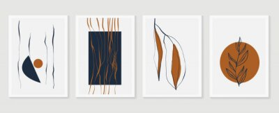 Plakat Botanical wall art vector set. Earth tone boho foliage line art drawing with  abstract shape.  Abstract Plant Art design for print, cover, wallpaper, Minimal and  natural wall art.