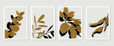 Plakat Botanical wall art vector set. Foliage line art drawing with  abstract shape.  Abstract Plant Art design for print, cover, wallpaper, Minimal and  natural wall art. Vector illustration.