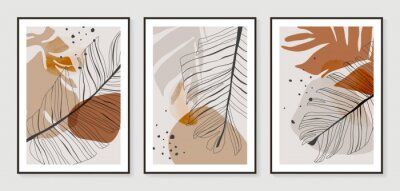 Plakat Botanical wall art vector set. Golden foliage line art drawing with watercolor.  Abstract Plant Art design for wall framed prints, canvas prints, poster, home decor, cover, wallpaper.