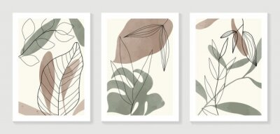 Plakat Botanical wall art vector set. Water color boho foliage line art drawing with  abstract shape.  Abstract Plant Art design for print, cover, wallpaper, Minimal and  natural wall art.