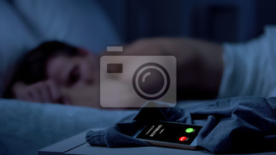 Plakat Boyfriend calling while male sleeping deeply, missing call, same-sex relations