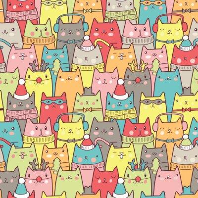 Plakat Boże Narodzenie bez szwu kotów