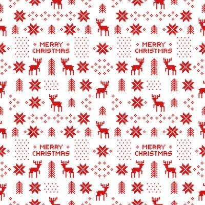 Plakat Boże Narodzenie bez szwu retro czerwony wzór z jelenie, drzewa i płatki śniegu