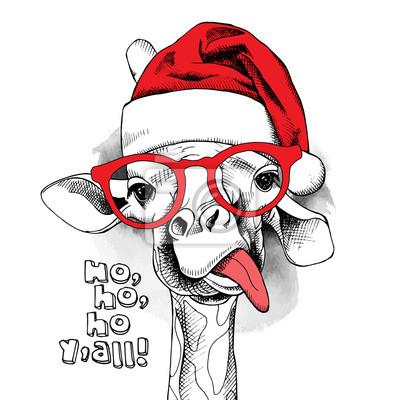 Boże Narodzenie plakat z portretem żyrafa zdjęcie w kapeluszu Mikołaja iw okularach. ilustracji wektorowych.
