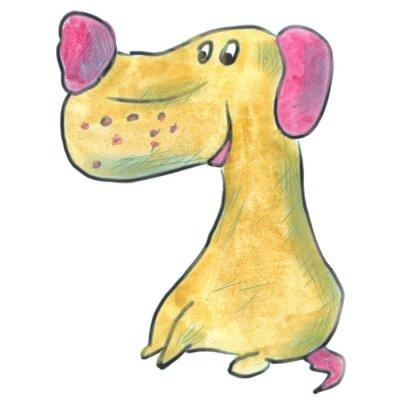 Plakat brązowy pies z różowe uszy kreskówki akwarela izolowane