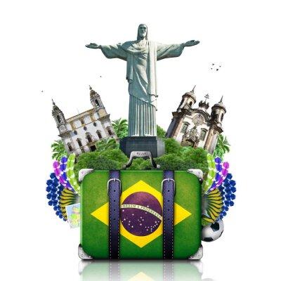 Plakat Brazylia, Brazylia zabytki, podróże i retro walizka