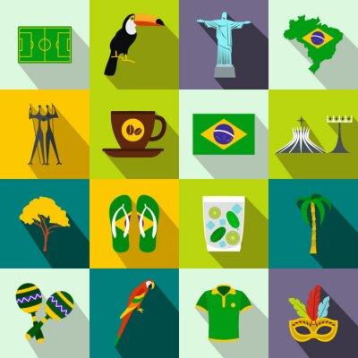 Plakat Brazylia ikony płaskim